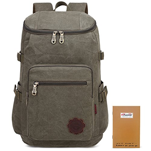 Price comparison product image KAUKKO Outdoor Vintage Canvas Military Backpacks Travel Hiking BookBags Classis Backpack Rucksack (Army Green)