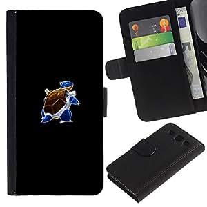 KLONGSHOP // Tirón de la caja Cartera de cuero con ranuras para tarjetas - Meter Blue Monster Tortuga - Samsung Galaxy S3 III I9300 //
