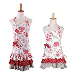 Floral Pattern Three Ruffles Adult Apron,100% Cotton Mama-Child Set Apron,Practical Front Pockets Kitchen Apron Great Gift for Wife Daughters (Red Flower & White Background)