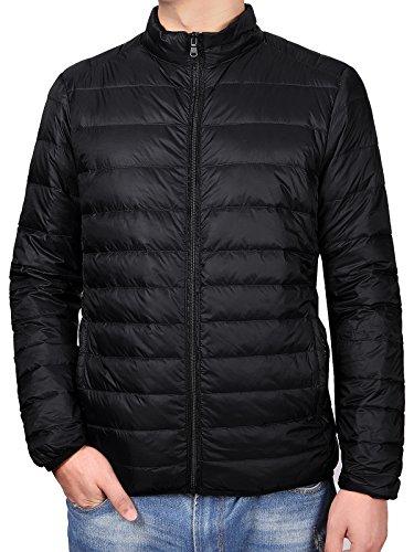 Fastorm Men's Ultra Light Weight Goose Down Jacket Packable Down Puffer Jacket Warm Winter Coats For Outdoor Black XL Solid Stuff Sack