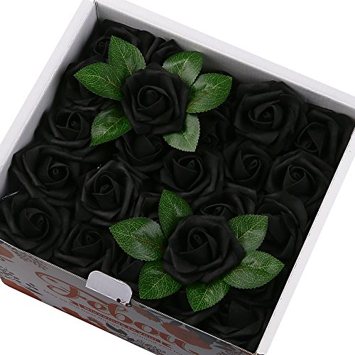 Febou Artificial Flowers, 100pcs Real Touch Artificial Foam Roses Decoration DIY for Wedding Bridesmaid Bridal Bouquets Centerpieces, Party Decoration, Home Display (Concise Type, Black)