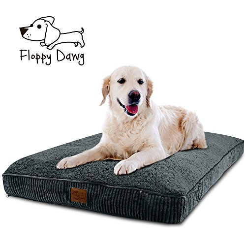 ra Large Dog Bed with Removable Cover and Waterproof Liner | Stuffed To 8 Inches High with Memory Foam Pieces To Accommodate the Natural Digging Instinct | Dogs 80 Pounds and Up ()