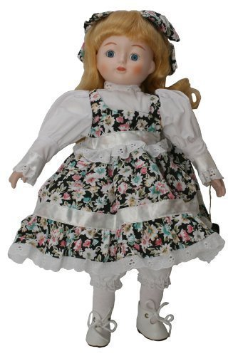 Porcelain standing doll 16 inches with blue eyes, blond curled hair with hair bow match white and flower print cotton dress. (Porcelain Doll With Blonde Hair And Blue Eyes)