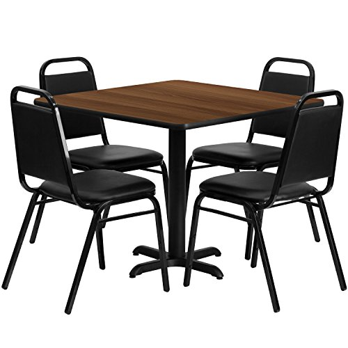 Flash Furniture 36'' Square Walnut Laminate Table Set with 4 Black Trapezoidal Back Banquet Chairs