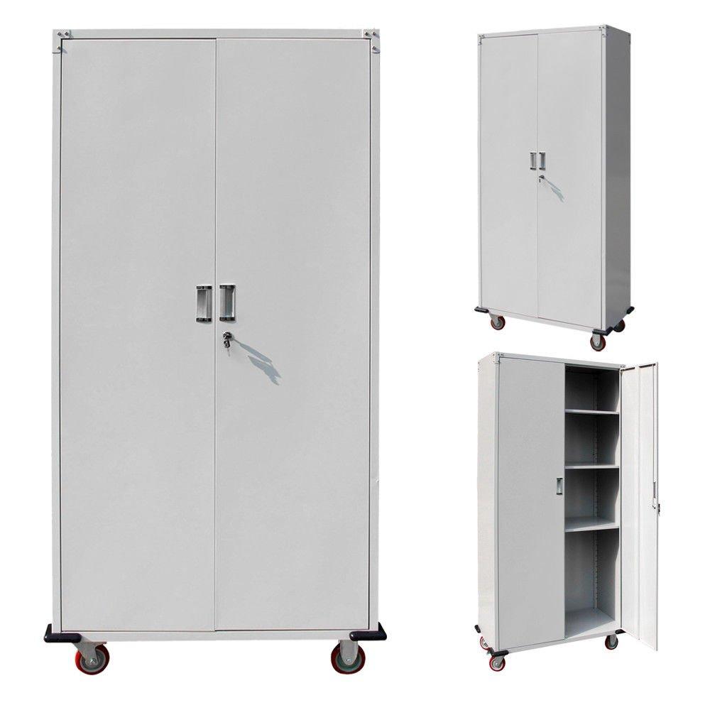 Metal Rolling Garage Tool Box Storage Cabinet Shelving Stainless Steel Doors