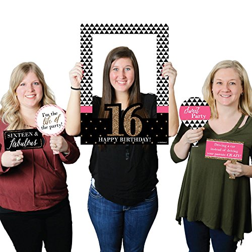 Big Dot of Happiness Chic 16th Birthday - Pink, Black and Gold - Birthday Party Selfie Photo Booth Picture Frame & Props - Printed on Sturdy Material