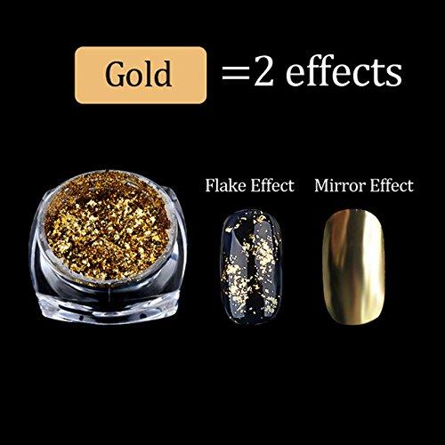 MIOBLET 1 Box Gold Mirror Powder Aluminum Flake Nail Sequins Acrylic Nails Glitter DIY Nail Gel Polish Chrome Pigment Deco 0.2g
