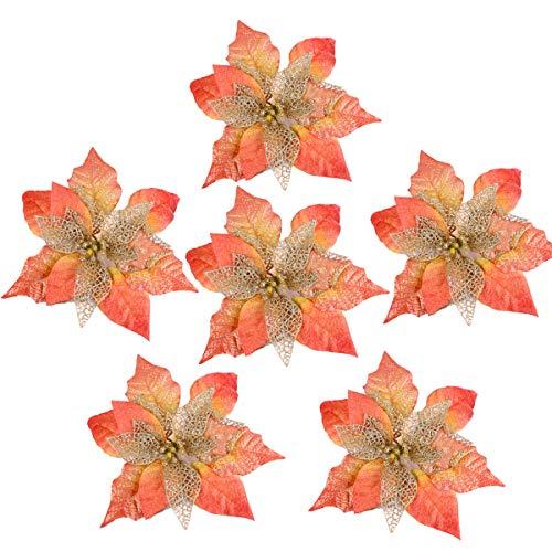 Louiesya Pack of 6 Glitter Artificial Wedding Christmas Flowers Glitter Poinsettia Christmas Tree Ornaments Dia 9 Inch (Orange)