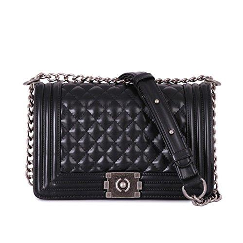 Design Fashion Frauen Karriere OL Handtasche kariert Kette Tasche Umhaengetasche Mode-Strasse Damentaschen (schwarz)