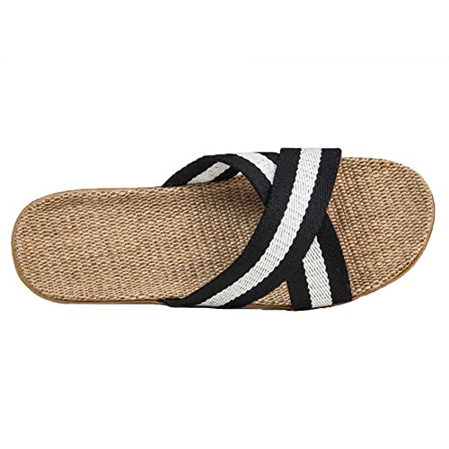 Urban CoCo Unisex Cross Braid Cozy Linen Indoor House Slippers White & Black odPzHb0sOn