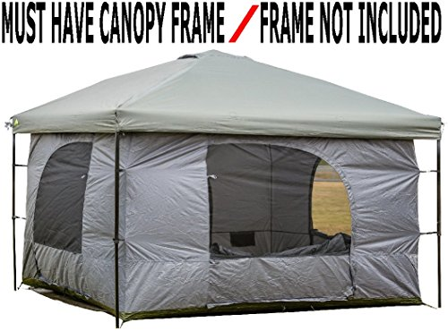 Standing Room PREMIUM Family Cabin Tent 8.5 ' OF HEAD ROOM 4 Big Screen Doors Fast Easy Set Up, Full waterproof Fabric Ceiling (NOT CHEAP LEAKY SCREEN),FULL TUB STYLE Floor CANOPY FRAME NOT INCLUDED!