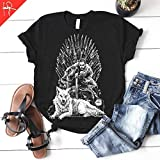 Jon Snow in the Iron Throne Game of Thrones T-shirt GOT Tee Ghost Unisex Mens womens