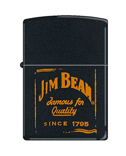 (Zippo Jim Beam Famous for Quality Black Matte Pocket Lighter)