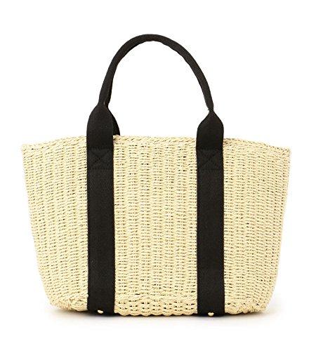 OneMoreT - Bolso de paja para mujer, para verano, playa, tejido a mano, con cordón, marrón beige