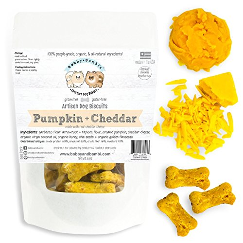 Bobby + Bambi's Gourmet Dog Bakery, PUMPKIN + CHEDDAR Grain-Free Dog Biscuits. Wheat-Free, Organic, and Made in USA w/ human-grade ingredients, 6 - 3 Bambi