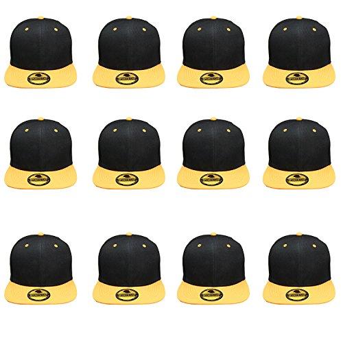 Plain Blank Flat Brim Adjustable Snapback Baseball Caps Wholesale LOT 12 Pack - 1500-Black Yellow ()