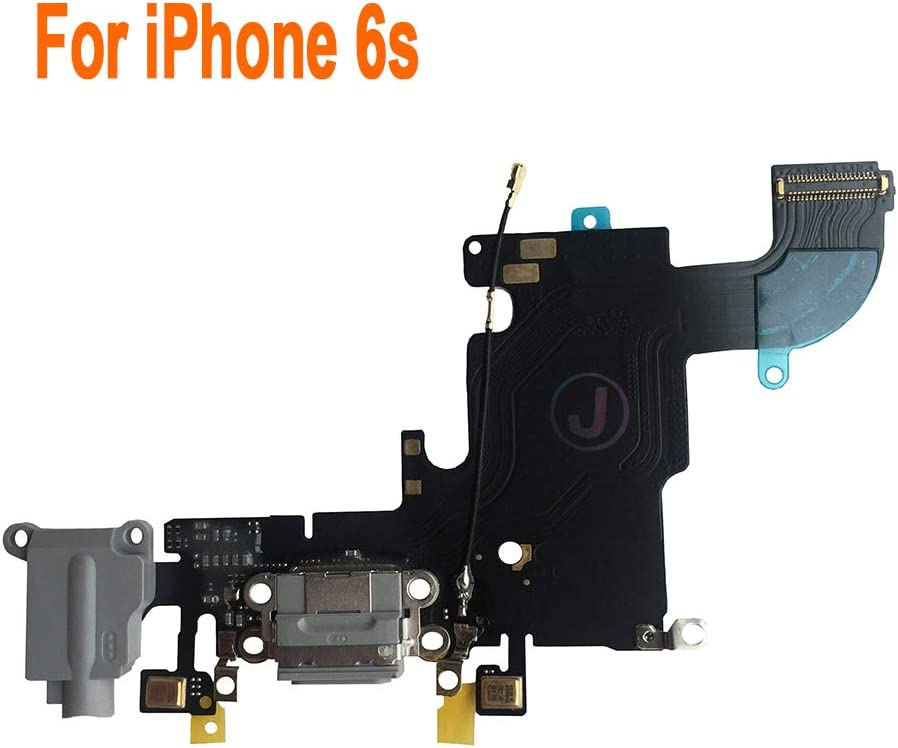 Johncase OEM Charging Port Dock Connector Flex Cable w/Microphone + Headphone Audio Jack Port Ribbon Replacement Part Compatible for iPhone 6s All Carriers (Black/Space Gray)
