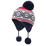 Vivobiniya Toddler Baby Winter Warm Earflap Beanie Hat Kid Knit Hat 0-8y (0-12m(Head Circumference 15.7in-17.3in), colour2)