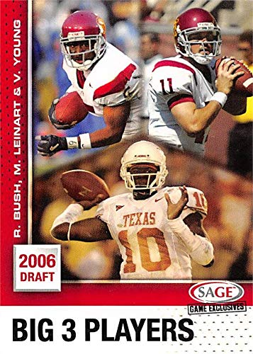 (Reggie Bush, Matt Leinart & Vince Young football card (USC Trojans, Texas Longhorns) 2006 SAGE Draft Rookie)