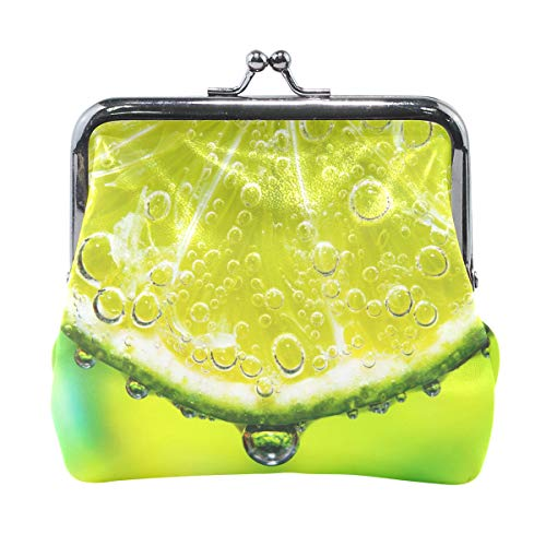 Mohado Lime Slice With Soda In Glass Leather Coin Purse Mini Pouch Clasp Closure