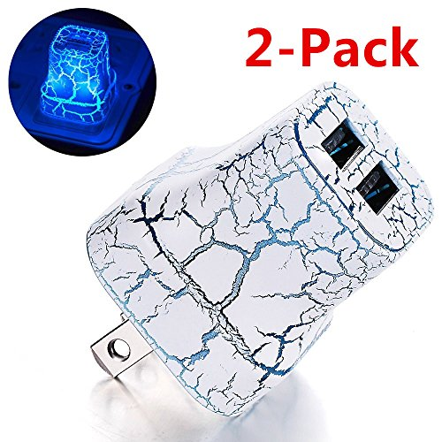Cheap Wall Chargers 2Pack Crack LED Night Light & USB Quick Charger Station,2A LED Glow..
