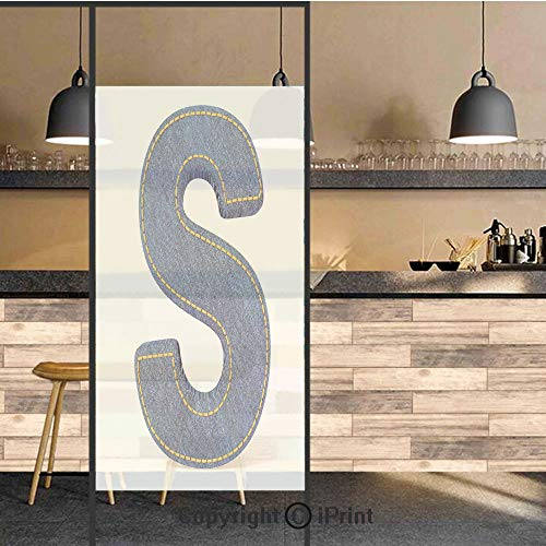3D Decorative Privacy Window Films,Retro Style Denim Letter Character on White Background Conceptual Typography Decorative,No-Glue Self Static Cling Glass film for Home Bedroom Bathroom Kitchen Office