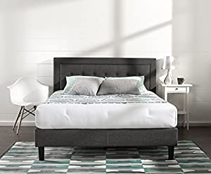 Zinus Upholstered Button Tufted Premium Platform Bed / Strong Wood Slat Support / Dark Grey, Queen by Zinus