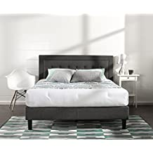 Zinus Upholstered Button Tufted Premium Platform Bed/Strong Wood Slat Support/Dark Grey, Queen