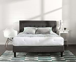 Zinus Upholstered Button Tufted Premium Platform Bed / Strong Wood Slat Support / Dark Grey, King