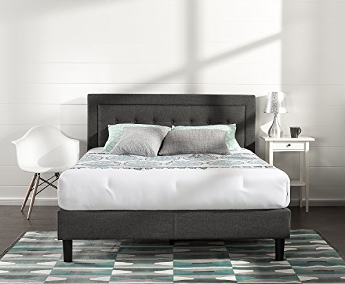Zinus Upholstered Button Tufted Premium Platform Bed/Strong Wood Slat Support/Dark Grey, Queen (Platform Furniture Bed)