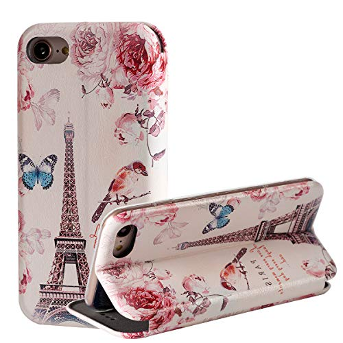 iPhone 7 Case/iPhone 8 Case,Eiffel Tower Pink Flower Wallet Phone Case,Kickstand Feature Folio PU Leather Design Credit Card Slot Flip Protective Case Compatible for iPhone 7/iPhone 8 4.7