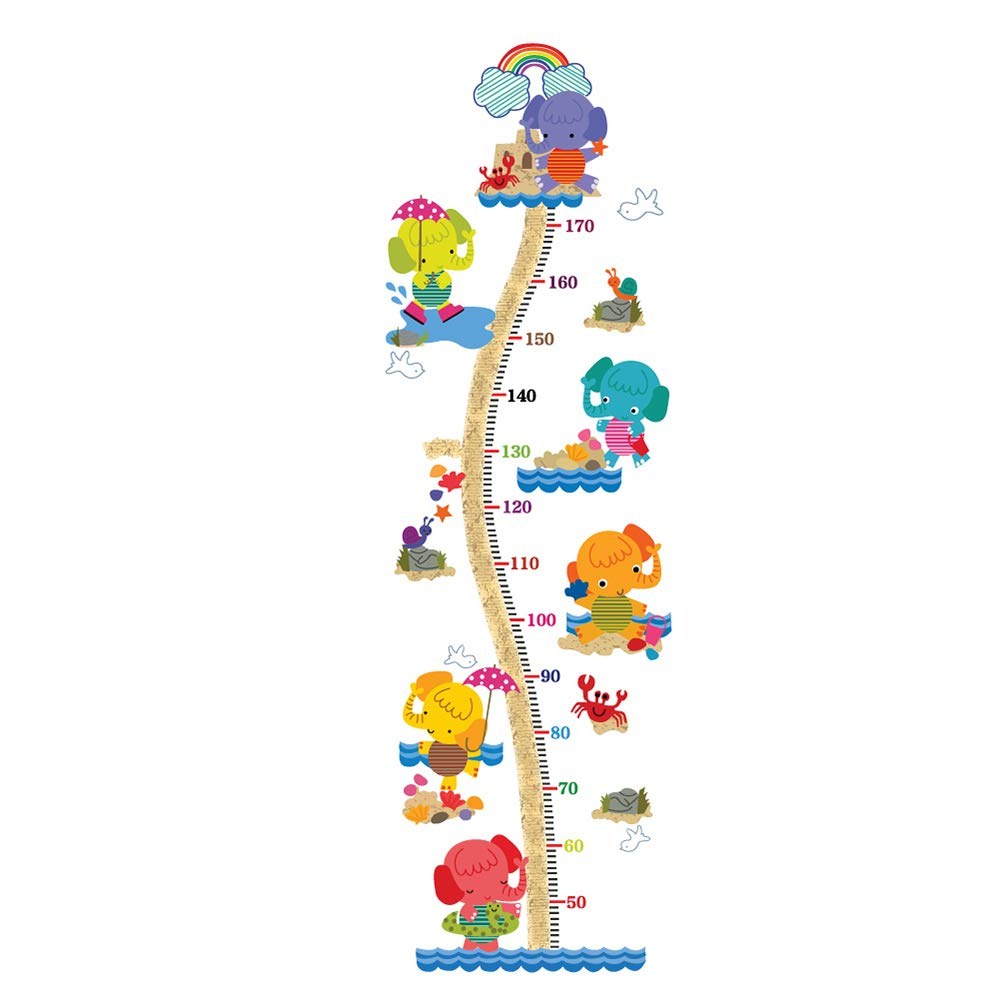 decalmile Animal Elephants Height Chart Wall Stickers for Kids Removable Measurement Wall Decals Baby Nursery Bedroom Playroom Kids Room Wall Decor