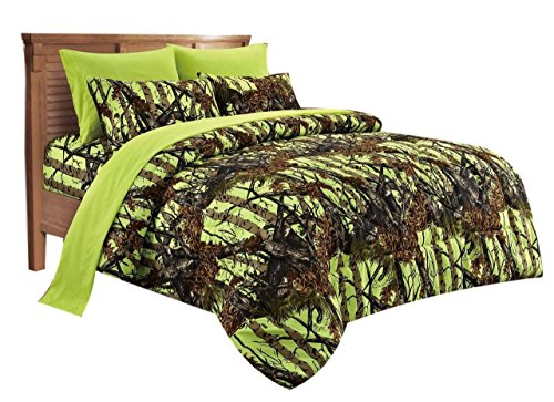 20 Lakes Super Soft Microfiber Camo Comforter Spread (Neon) (Twin Green Camo Bedding)