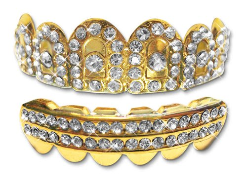 Hip Hop 14K Gold Plated Removeable Mouth Grillz Set (Top & Bottom) Crown (Custom Costume Hip Hop Jewelry)