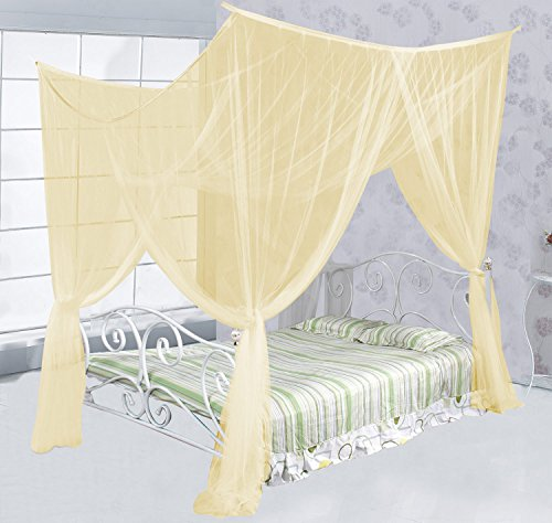 Just Relax Four Corner Post Elegant Mosquito Net Bed Canopy Set, Beige, Full/Queen/King, 86.6x78.7x98.4 Inches