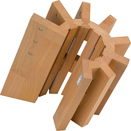 Artelegno 51 Pisa Magnetic Knife Block, Solid Beech Wood Natural Lacquer Finish (Magnetic Butcher Block)