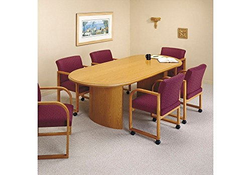 (Solid Oak Oval Conference Table with Curved Base - 96