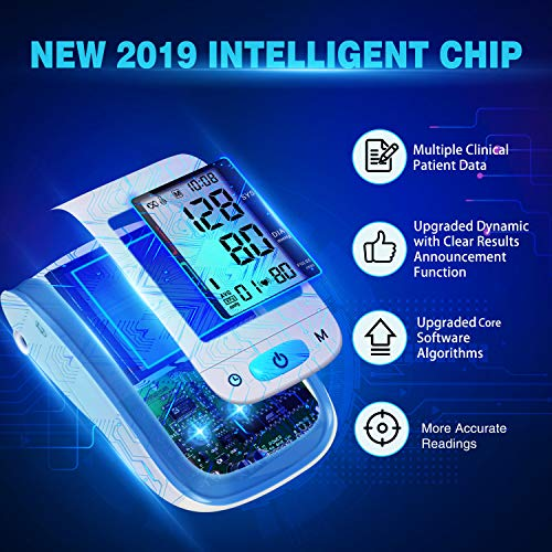 【2019 Upgraded】 Blood Pressure Monitor, 2-in-1 Digital Upper Arm Automatic  Measure Blood Pressure & Heart Rate Pulse with New Algorithm for Best