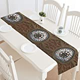 Design With The Rose Window In The Gothic Cathedral Pattern Cotton Linen Placemat Table Runner 14 x 72 Inches, Rectangle Table Runner Cotton Linen Cloth Placemat.