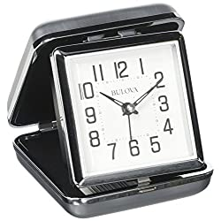 Bulova Traveler Quartz Ascending Metal Clam Shell Alarm Clock, White