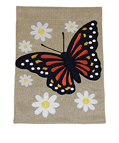 Toland Home Garden Monarch with Daisies 12 x 18 Inch Decorative Butterfly Spring Flower Burlap Flag