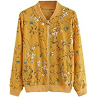 vermers Womens Outwear Coat Clearance - Women Fashion Floral Print Zipper Bomber Jacket Clothes