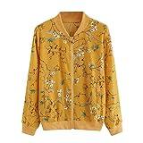 Apparel : Women Fashion Floral Print Zipper Bomber Jacket Outwear