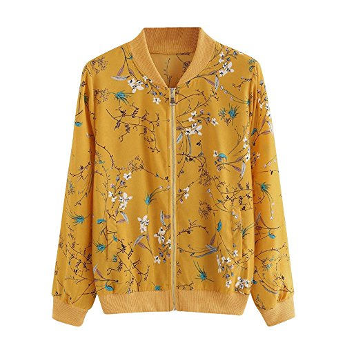 iTLOTL Women Outwear Coat Bomber Jacket Fashion Yellow Floral Print Zipper top(Yellow ) (Jacket Cardigan Beaded Black Top)