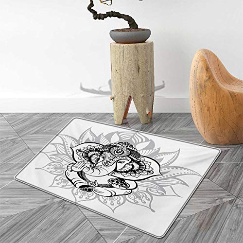 Asian Door Mats for Home Elephant Sitting Inside Majestic Lotus Flower His Pot Belly Spiritual Graphic Print Bath Mat Bathroom Mat with Non Slip 3'x4' Black White ()