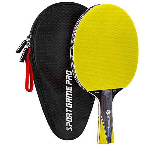 Ping Pong Paddle with Killer Spin + Case for Free - Professional Table Tennis Racket for Beginner and Advanced Players - Improve Your Ping Pong Skills with JT Ping Pong Paddle Set (Yellow) (Best Tennis Racquet For Advanced Players)