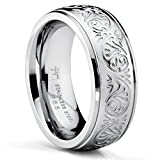 Bonndorf 7MM Stainless Steel Ring With Engraved Florentine Design Size 7