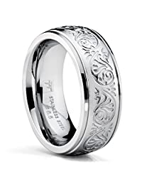 Metal Masters Co.® 7MM Stainless Steel Ring With Engraved Florentine Design Sizes 4 to 13