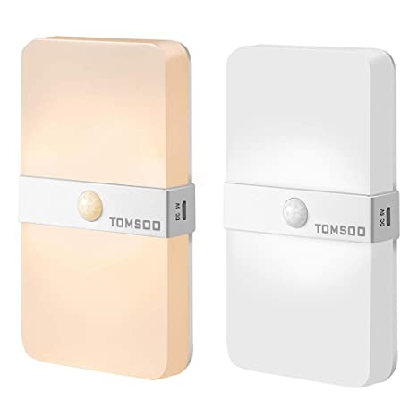 Tomsoo Rechargeable Motion Sensor Light, Adjustable 3000K Warm White / 6500K Cool White Color Change