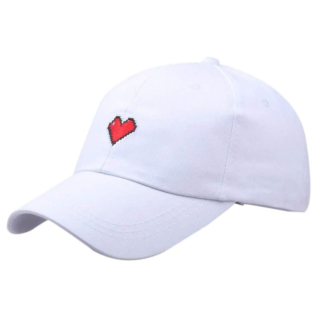 Unisex Summer Outdoors Love Embroidery Visor Baseball Cap Adjustable Hat Dad Hats (White, Size:Adjustable)